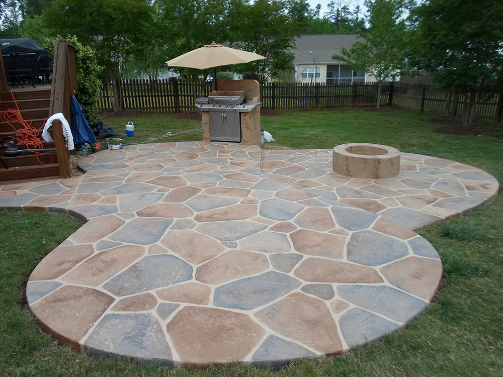 unique patio backyard designs concrete